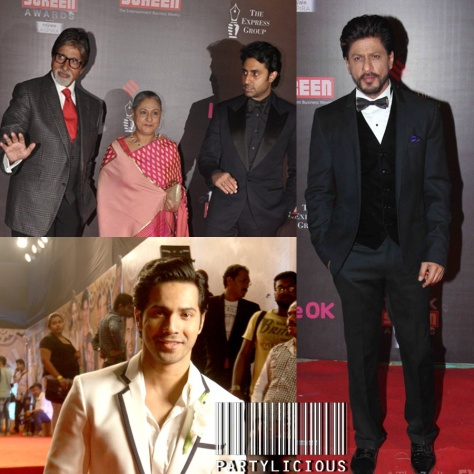 Amitabh Bachchan with wife Jaya Bachchan and Abhishek Bachchan, Varun Dhawan and Shahrukh Khan