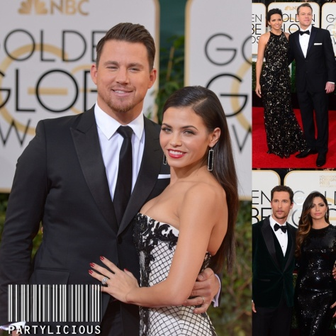 Channing Tatum with Jenna Dewan,  Matt Damon with Luciana Barroso and Matthew McConaughey with Camila Alves