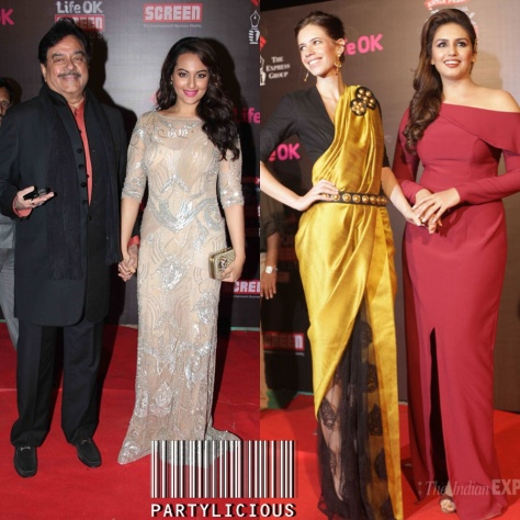 Shatrughan Sinha with daughter Sonakshi Sinha and Kalki Koechlin with Huma Qureshi