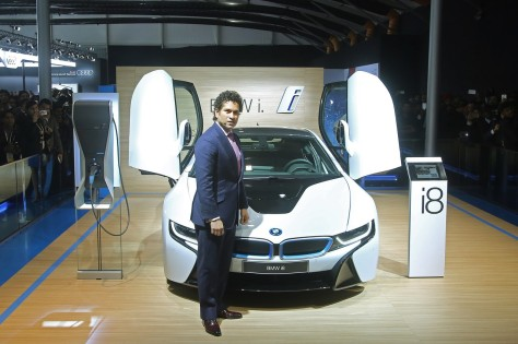 Sachin Tendulkar posed with the newly launched BMW i8